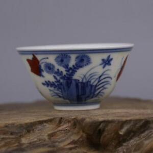 China Antique Porcelain Ming Chenghua Blue White Flower Butterfly Cup Bowl