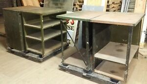 Lot Of 4 Vintage Industrial Age Green Metal Shop Service Counter Desk Tables