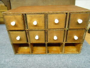 Vintage Antique Wood Cubby Hole Display Case Box With Drawers