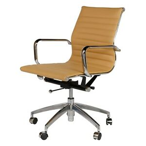 Mid century Modern Mid Back Office Chair In Brown Faux Leather Eames Style