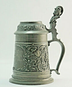 Alter Pewter Beer Mug With Dedication For Captain Teuer P B 20 Um Ca 1900
