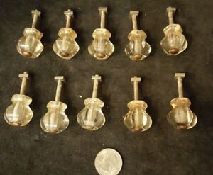 10 Vintage Drawer Pulls Cabinet Handles Knobs Clear Glass Hexagon 1x1