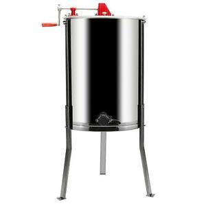 4 Frames Stainless Steel Manual Honey Extractor w Holder Manual Beekeeping