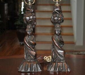 Pair Carved Wood Chinese Lamps 1920 S 1930 S