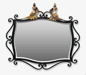 Art Deco Mirror Wrought Iron W Gilded Accents Beveled Glass French Rare