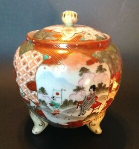 Nippon Satsuma Footed Ginger Jar Or Tea Caddy Red Imari With Moriage Japan