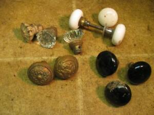 Lot Of 11 Vintage Door Knobs Porcelin White Black Clear Glass Brass