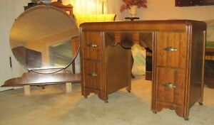 Antique Vintage Art Deco Waterfall Vanity Dressing Table With Round Mirror