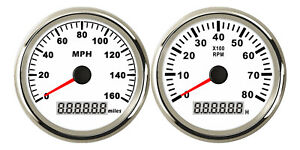 85mm Gps Speedo 160mph Odometer 85mm Tacho Rpm8000 Pulse Signals White Us Stock