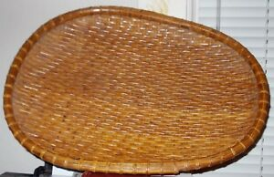 Antique Large Shallow Tribal Egg Shaped Woven Basket 19 X 14 X 1 3 4 Ex