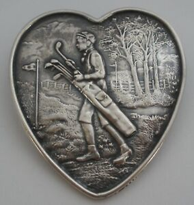 Unger Brothers Art Nouveau Sterling Heart Shaped Golf Theme Desk Memo Paper Clip