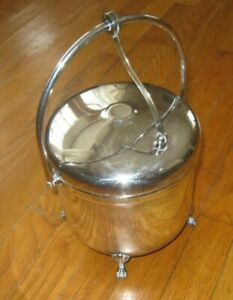Sheffield Silver Co Ice Bucket Wine Cocktail Hinged Lid Thermos Lined Vintage