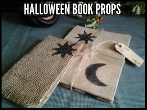 2 Halloween Primitive Vtg Book Props Burlap Fabric Covers Moon Stars Gift Tag