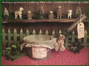 Primitive Antique Tin Cooking Pan Horse Sleigh Christmas Blessings 1889 Label