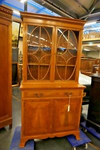 Antique Satinwood English Bookcase Cabinet By Gillow Waring