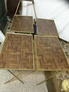 Vintage 4 Tv Tray Tables Set Faux Wood Mid Century Modern Stand Carrier Serving