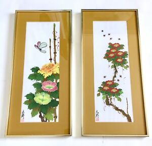 2 Gary Poon Tai To Chinese Watercolor Floral Silk Paintings Flowers 1976 Signed