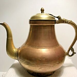 Antique Dove Tailed Seams Large Copper Brass Kettle Moroccan Persian
