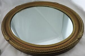 Vintage Oval Wall Mirror Wood Frame Gold Bronze Gilded