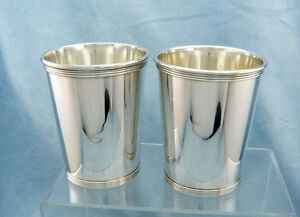 Set Of 2 Vintage K Brown Jeweler Sterling Silver Mint Julep Cups No Mono