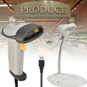 New Usb Handheld Pos Laser Barcode Scanner Continuous Scan Gun Reader With Stand