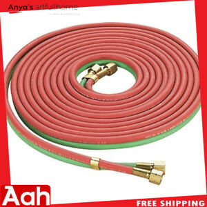 Red Green Twin Welding Torch Hose Oxygen Acetylene Oxy 25 1 4 For Cutting