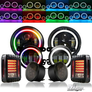 7 Rgb Led Halo Headlights Fog Turn Tail Lights Combo Kit For Jeep Wrangler Jk