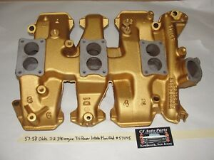 1957 1958 57 58 Olds J2 3x2 371 Golden Rocket Tri Power Intake Manifold 571145