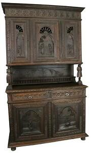 Antique Brittany Buffet French 1900 Chestnut Carved Figures Ship Wheels 5 Door