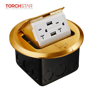 Pop up Electrical Outlet Box With 2ac Round Receptacles 2 Usb Ports Ul Listed