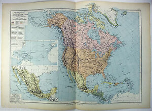 Original 1884 French Map Of North America By Drioux Leroy Paris