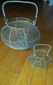 Pair 2 Antique Handmade Wire Egg Gathering Basket 6 Footed W Coiled Wire Handle