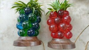 2 Vintage Lucite Table Lamps Hawaii Pineapple Grape Cluster Tiki Mcm Style Nice