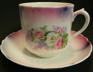 Antique Large Hand Painted Embossed Tea Cup Saucer Germany Excellent Condition