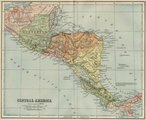 Central America Map 1891 Showing Panama Railroad But No Panama Canal