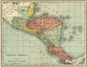 Central America Map 1895 Authentic No Panama Canal But Shows Panama Rr