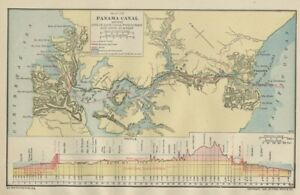 Panama Canal Map In Construction Genuine 1906 Dated Cities Topo Rr Small