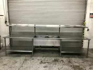 151 2 Compartment Sink Work Food Prep Table W Shelf Stainless Steel 9556