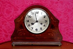 Vintage Art Deco German D R G M Walnut Mantel 8 Day Clock With Chimes