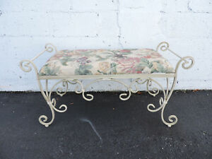 Shabby Chic Large Vintage Distressed Painted Metal Upholstered Bench Stool 7335