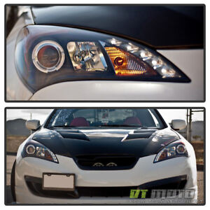 Black For 2010 2011 2012 Genesis 2dr Coupe Led Halo Projector Headlights 10 12