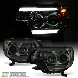 For Smoked 2012 2015 Toyota Tacoma Led Tube Drl Projector Headlights Headlamps