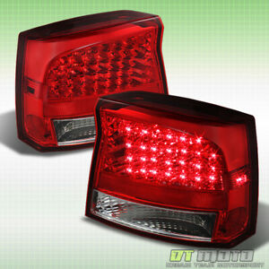 2006 2008 Dodge Charger Red Clear Led Tail Brake Lights Lamps Pair Left Right