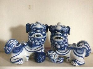 Chinese Flow Blue And White Foo Dog Statue Figurine
