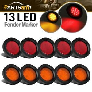 5 Amber 5 Red 13 Led 2 5 Round Side Marker Clearance Light Grommet plug