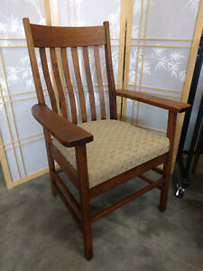 Antique Allen Chair Co Arts Crafts Oak Arm Chair Stickley Mission Library