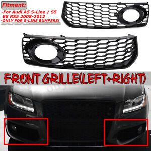 Pair Honeycomb Mesh Fog Light Grill Grille For Audi A5 S Line S5 B8 Rs5 2008 12