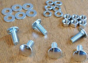 Mopar 6 Bumper Bolts Nuts Lock Flat Washers Stainless Capped Bolt 3 8 16 X 1
