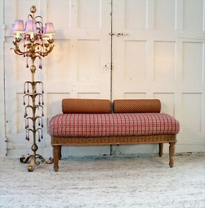 Ralph Lauren Polo Vintage Wicker Upholstered Bench