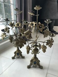 Pair Of Antique French Altar Candelabras